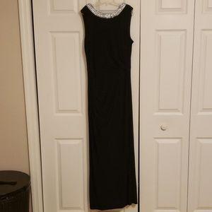 Evening dress touched waist rhinestone collar